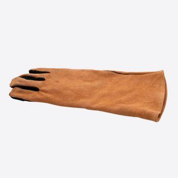 Point-Virgule gant de barbecue droit en cuir marron et noir 42x20cm