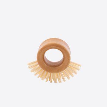 Point-Virgule brosse abrasive avec poignée circulaire en bambou 9x8x3.5cm