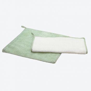 Point-Virgule set de 2 chiffons en fibre de bambou vert et blanc 20x20cm (par 6pcs)