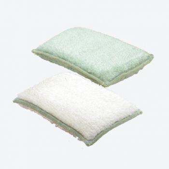 Point-Virgule set de 2 éponges en fibre de bambou vert et blanc 13x9x2cm (par 6pcs)