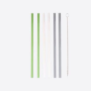 Point-Virgule 6 pailles en verre transparent; gris et vert avec brosse et sachet 21.5cm