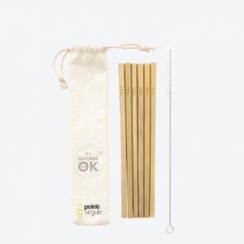 Point-Virgule set de 6 pailles en bambou avec brosse et sachet 19.5cm