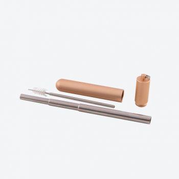 Point-Virgule paille téléscopique inox avec brosse & étui rosé ou noir (12pcs/disp.)