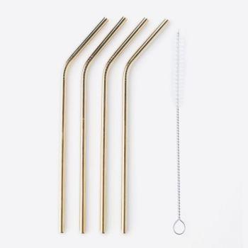 Point-Virgule set de 4 pailles en inox doré avec brosse de nettoyage 20.5cm