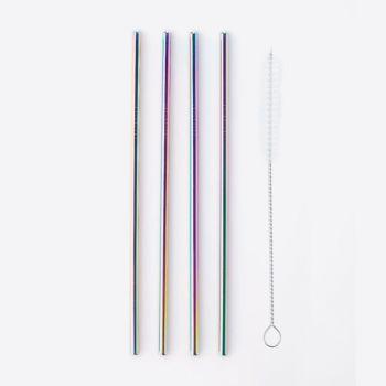 Point-Virgule set de 4 pailles en inox arc-en-ciel avec brosse de nettoyage 21.5cm