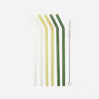 Point-Virgule 6 pailles courbes en verre jaune; blanc et vert avec brosse et sachet 21.5cm