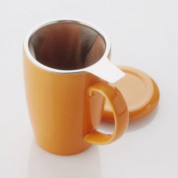 Point-Virgule gobelet avec infuseur à thé et couvercle orange 400ml