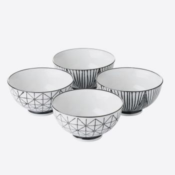 Point-Virgule set de 4 bols en porcelaine stripes & geo ø 11.5cm