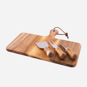 Point-Virgule set à fromage 4 pcs - couverts et planche à servir en acacia