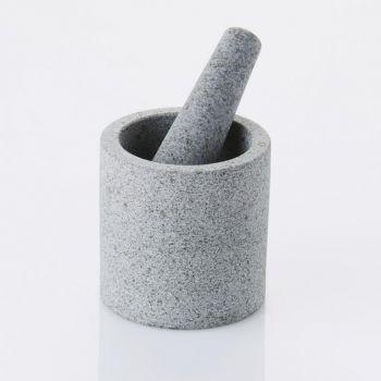 Point-Virgule mortier et pilon en granit double face demi poli ø 11cm