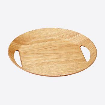 Point-Virgule plateau ovale couleur bois 46x41x4cm