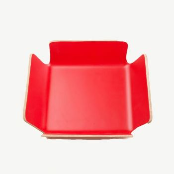 Point-Virgule corbeille à pain rouge 29x29x8cm