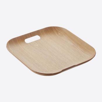 Point-Virgule plateau à servir carré avec poignées couleur bois 39x39cm