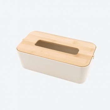 Point-Virgule boîte à mouchoirs en fibre de bambou blanc cassé 25.5x14x9cm