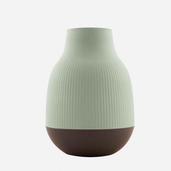 Point-Virgule vase en fibre de bambou vert sauge et gris foncé ø 18.1cm H 25cm