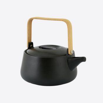 Point-Virgule théière en porcelaine avec poignée en bambou noir mat 1L