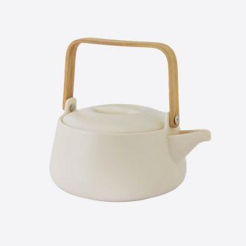 Point-Virgule théière en porcelaine avec poignée en bambou blanc mat 1L