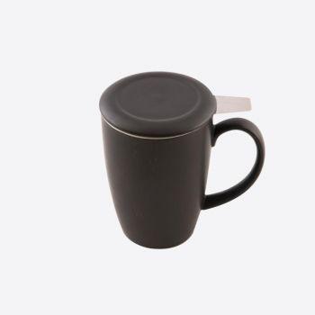 Point-Virgule tasse avec infuseur à thé et couvercle noir mat 400ml