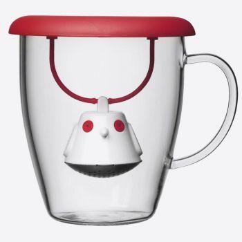 QDO infuseur à thé avec tasse en verre Birdie Swing Nest rouge 400ml