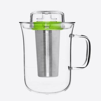 QDO Me Cup infuseur à thé avec tasse en verre vert 400ml