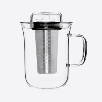 QDO Me Cup infuseur à thé avec tasse en verre noir 400ml