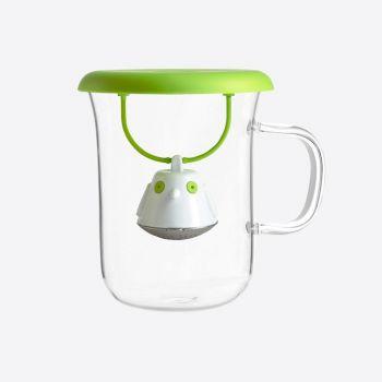 QDO infuseur à thé avec tasse en verre Birdie Swing Nest vert 400ml
