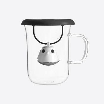 QDO infuseur à thé avec tasse en verre Birdie Swing Nest noir 400ml