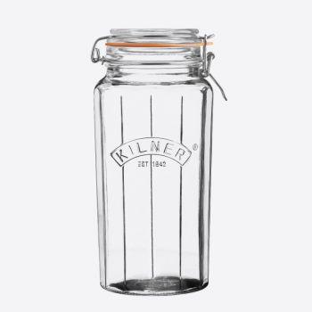Kilner bocal en verre facetté avec fermeture clip 1.8L