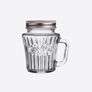 Kilner Vintage gobelet en verre avec poignée et couvercle argenté 110ml (par 12pcs)
