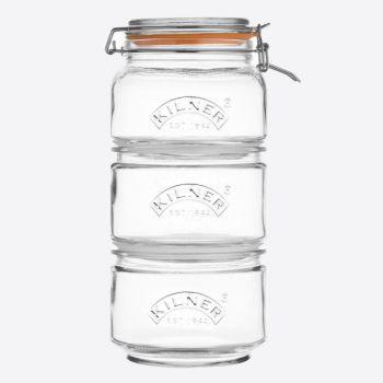 Kilner set de 3 bocaux en verre empilable : 1 x 900ml - 2 x 880ml