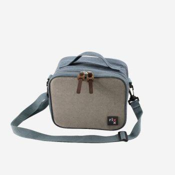 Rixx sac isotherme avec bandoulière bleu foncé et gris 21x13x17cm