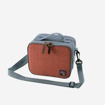 Rixx sac isotherme avec bandoulière bleu foncé et brun orangé 21x13x17cm