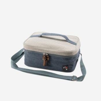 Rixx sac isotherme rectangulaire avec bandoulière bleu foncé et gris 27x21x12cm