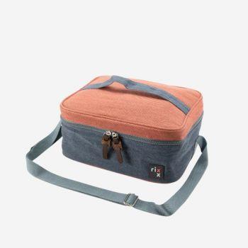 Rixx sac isotherme rect. avec bandoulière bleu foncé et brun orangé 27x21x12cm