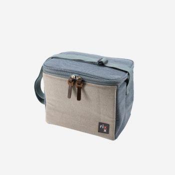 Rixx sac isotherme avec bandoulière bleu foncé et gris 23x15x19cm