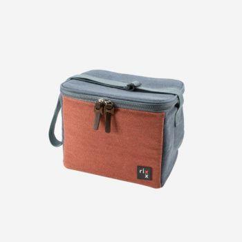 Rixx sac isotherme avec bandoulière bleu foncé et brun orangé 23x15x19cm