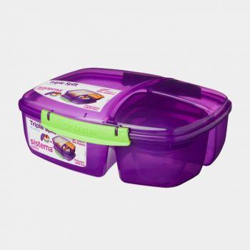 Sistema Trends Lunch boîte à lunch Triple Split avec pot à yaourt 2L (4 ass.)