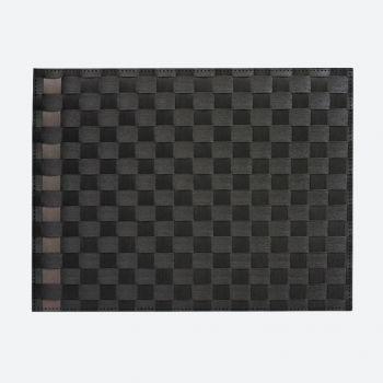 Saleen set de table tressé large en matière synthétique noir et taupe 30x40cm