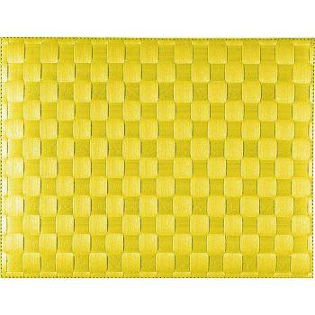 Saleen set de table tressé large en matière synthétique jaune 30x40cm