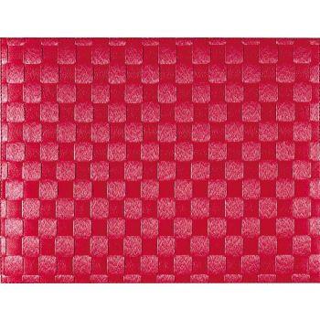 Saleen set de table tressé large en matière synthétique rouge robin 30x40cm