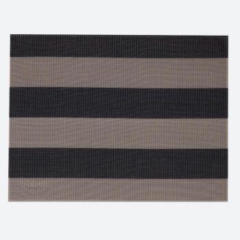 Saleen Uni fin set de table tressé en mat. synth. à bandes beige et noir 32x42cm