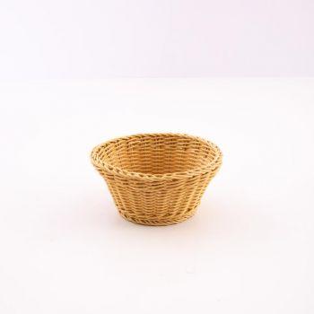 Saleen corbeille ronde tressée en matière synthétique beige Ø 18cm H 10cm