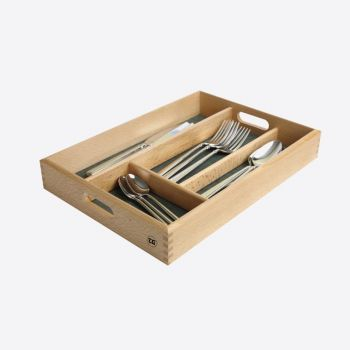 T&G Woodware tiroir à couverts en hêtre avec 4 comp. intérieur vert 34x24.5x5cm