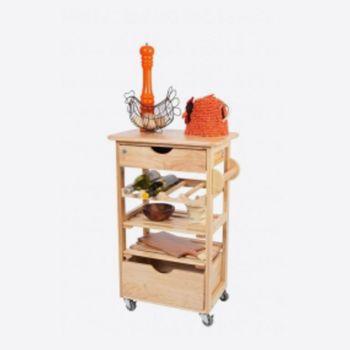 T&G Woodware trolley de cuisine en bois hévéa 54x38x84.5cm