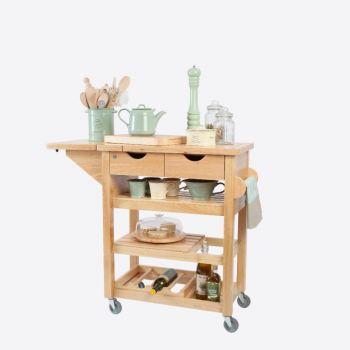 T&G Woodware trolley de cuisine en bois hévéa 79x343x91.5cm