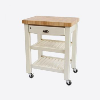 T&G Woodware Pembroke trolley de cuisine en bois hévéa blanc 69.5x50x89.5cm