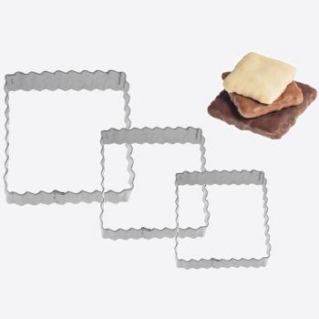 Westmark set de 3 emporte-pièces en inox carré plissé 4; 5 en 6cm