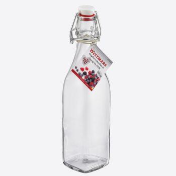 Westmark bouteille carrée en verre avec fermeture clip 500ml