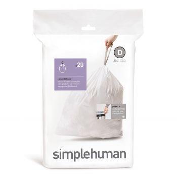 Simplehuman Bin Liner Code D 20 liter Pack of 20 Pieces