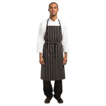 Tablier bavette tissé Chef Works Premium rayures noires et blanches